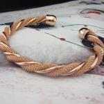 Браслет женский крученый, золото 18К (GF)