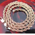 Цепочка крученая 60 см, 18К золото (GF)