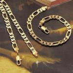 Комплект(браслет и цепочка мужские), плетение фигаро
