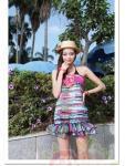Пляжный комплект из 3-х предметов (платье на резинке + бикини)
